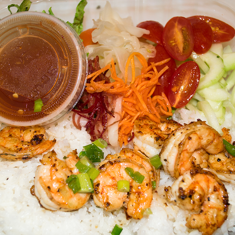 Grilled Shrimp Rice Plate