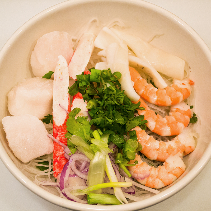 "Seafood w/ Scallop ""Pho"" Noodles"